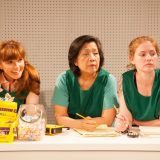 Connie Ray, Mia Katigbak, and Ella Dershowitz in CARD AND GIFT. Photo by Joseph Bensimon.