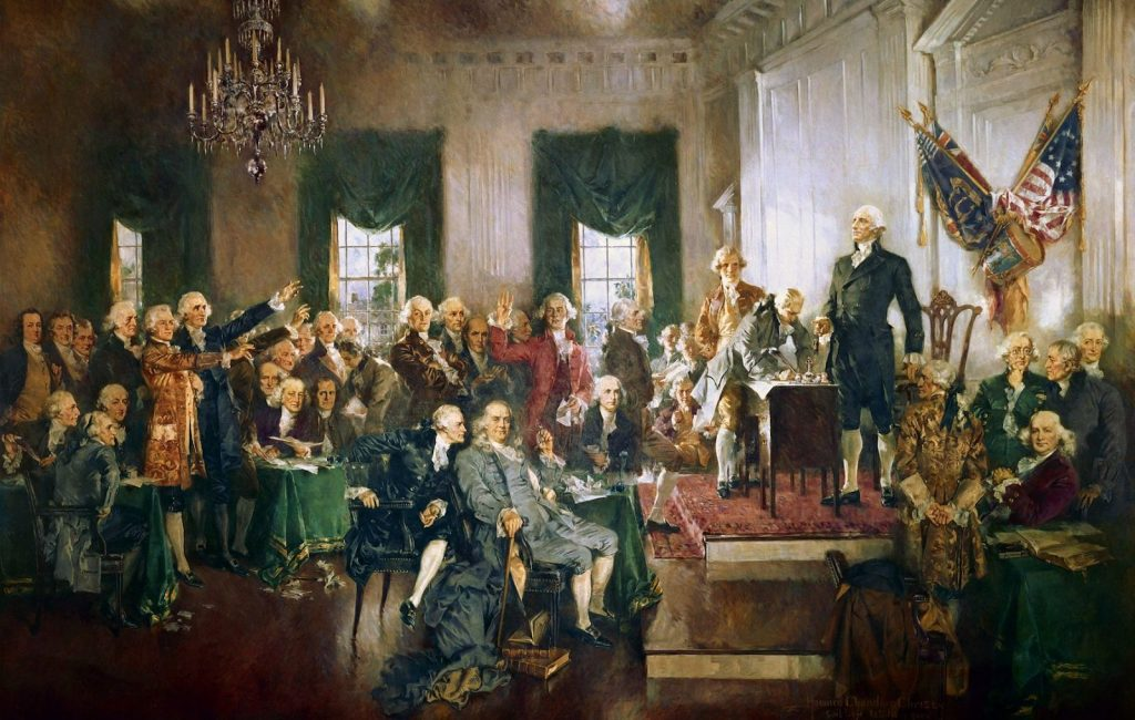 The 13 colonies officially becomes the United States of America with the ratification of the Constitution in 1788.
