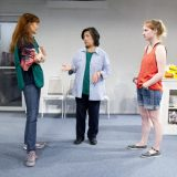 Connie Ray, Mia Katigbak, and Ella Dershowitz in CARD AND GIFT. Photo by Elke Young.
